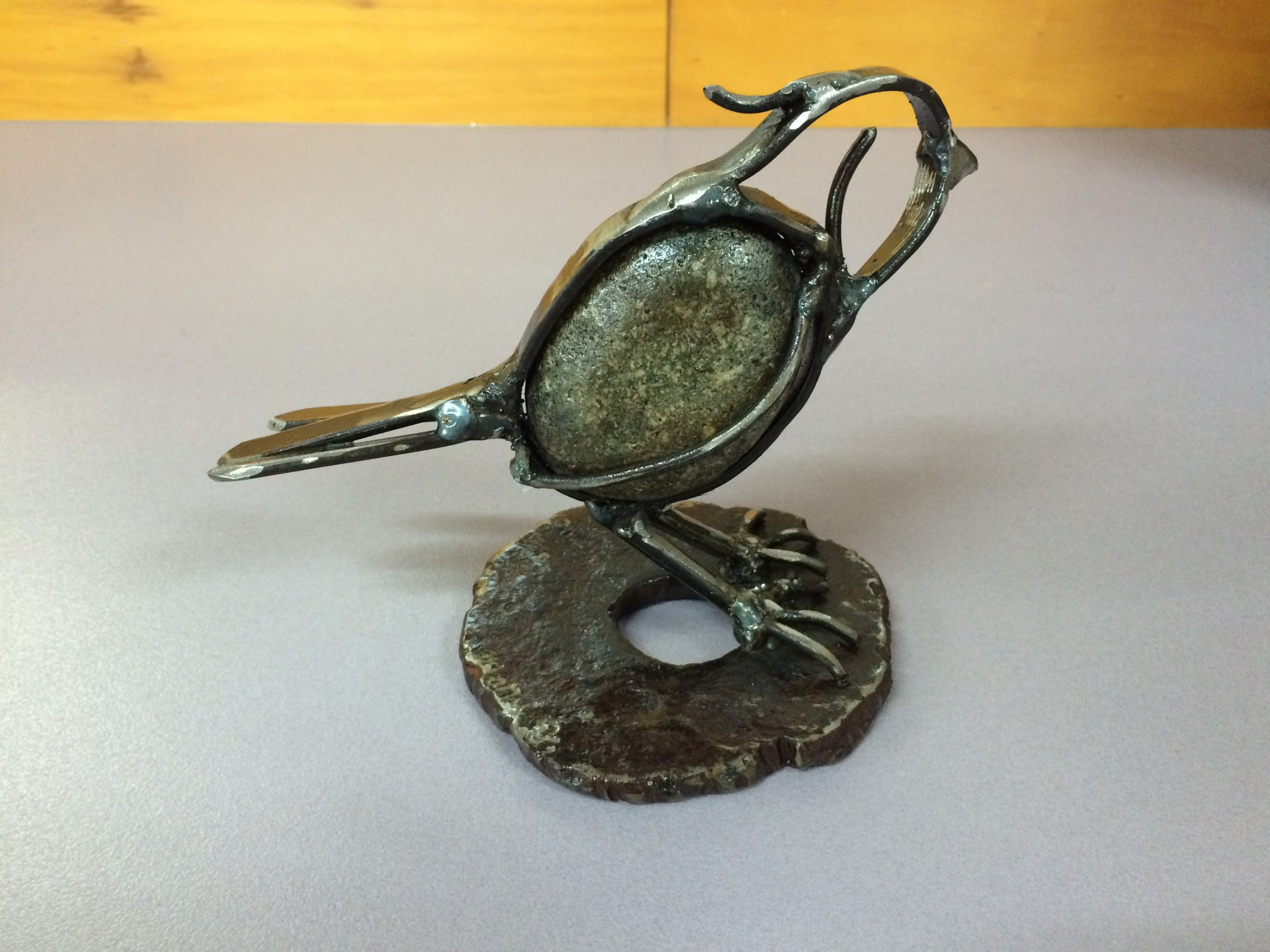 Bird on a Base by rock and steel artist Mary Donnelly | PEPPEROCKS